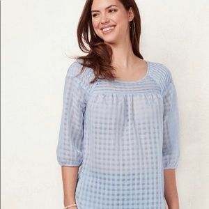 LAUREN CONRAD LC Sheer Blue Checkered Blouse